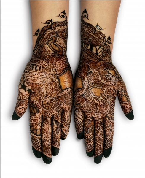 hands, henna, and tattoo image