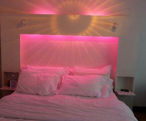 bed, lights, and luxurious image