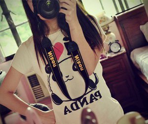 girl, panda, and camera image