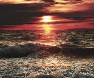 sunset, sea, and sun image