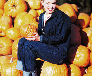 Marilyn Monroe, pumpkin, and autumn image