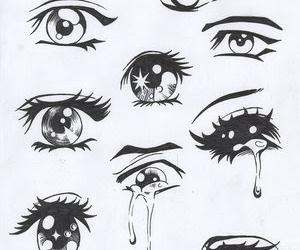 eyes, anime, and drawing image