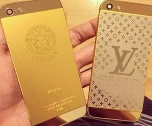 iphone, Versace, and gold image
