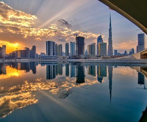 architecture, beautiful sunset, and Dubai image