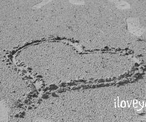 beach, heart, and in love image