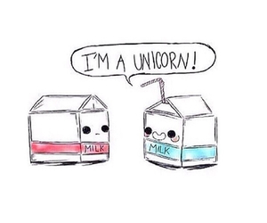 unicorn, milk, and funny image