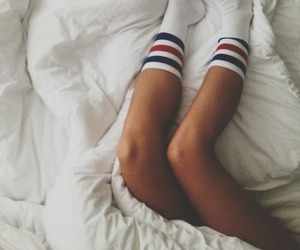 socks, bed, and legs image