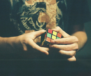 boy, cube, and hands image