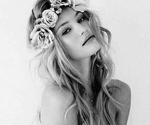 beauty, black and white, and flowers crown image