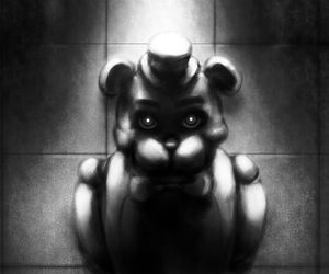 bear, creepy, and black and white image