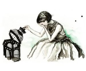 girl, cage, and drawing image