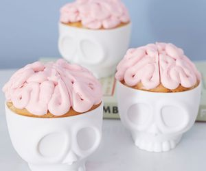 brain, cupcake, and skull image