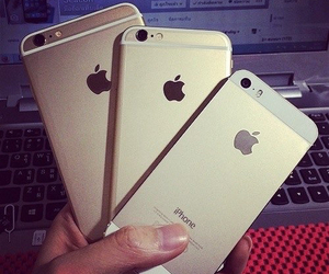 apple, gold, and iphone 5s image
