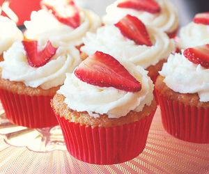 cupcakes, food, and strawberries image