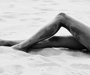 beach, tanned, and black and white image