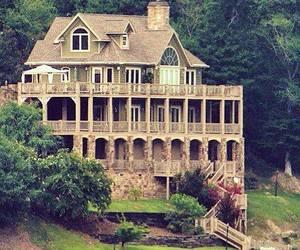 house, lake, and luxury image