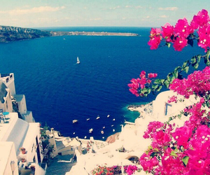 Greece, flowers, and sea image