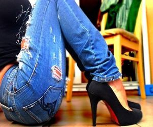 jeans, shoes, and heels image