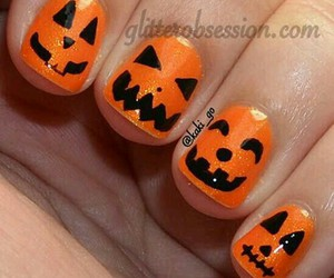 nails, Halloween, and pumpkin image
