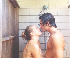 bathroom, couple, and laugh image