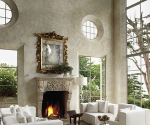 fireplace, interior, and luxury image