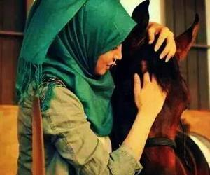 hijab and horse image