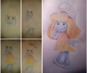 cartoon, drawing idea, and Smurfette image