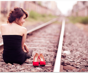 alone, girl, and shoes image