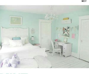 bed, mint, and bedroom image
