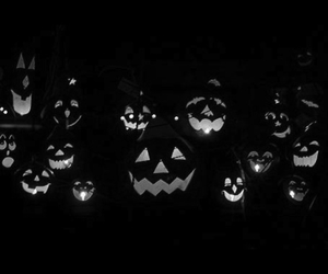 Halloween, pumpkin, and black and white image