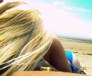 beach, blonde, and blue image