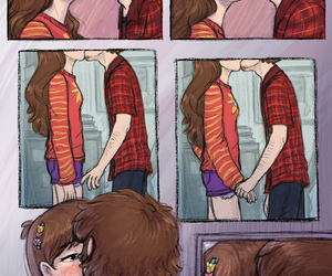comic, kissing, and dipper and mabel image