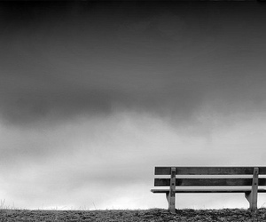 bench and black and white image