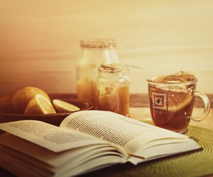 book, desk, and honey image
