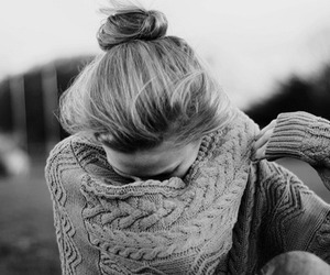 girl, black and white, and sweater image