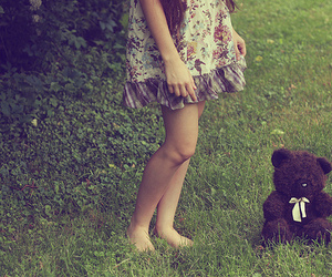 girl, bear, and dress image