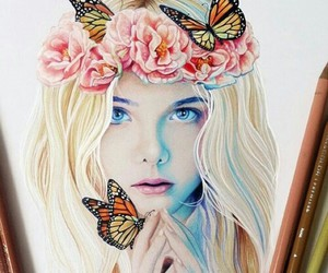 drawing, girl, and butterfly image