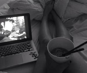bed, chinese food, and girl image