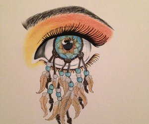 eye, dreamcatcher, and drawing image