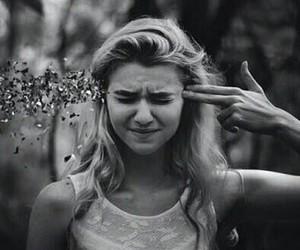 girl, black and white, and gun image