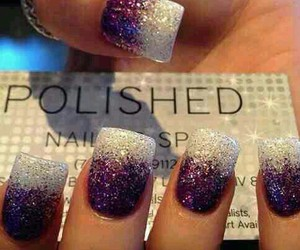 nails, purple, and sparkle image