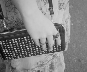 b&w, purse, and studded image