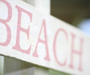 beach, pink, and sign image