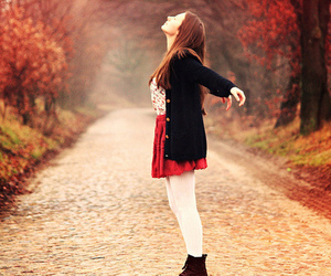 girl, autumn, and red image