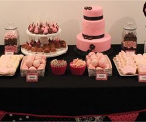 black & pink, food, and party image