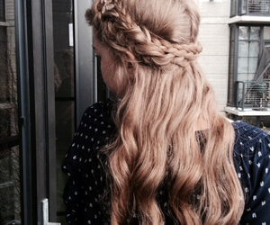 blonde, curls, and braided hair image