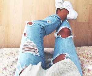 blue, nice, and ripped jeans image
