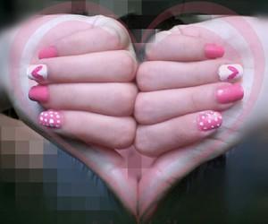 nails, pink nails, and heart image