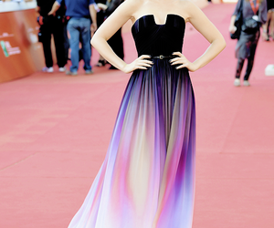 dress, lily collins, and red carpet image
