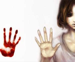 anime, anime girl, and blood image